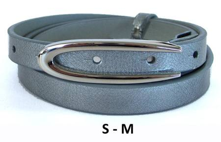 SLIM/OVAL  BELT - DARK SILVER S-M