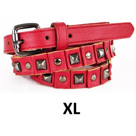 SKINNY WITH STUDS  BELT - RED - XL