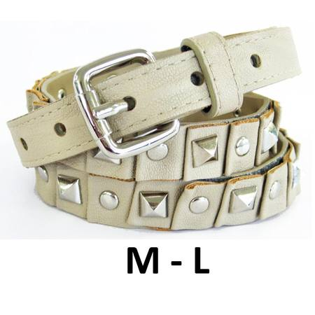SKINNY WITH STUDS  BELT - BEIGE - M-L