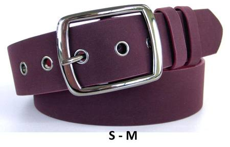 SUEDE-LOOK WITH GUNMETAL BUCKLE  BELT - BURGANDY S-M