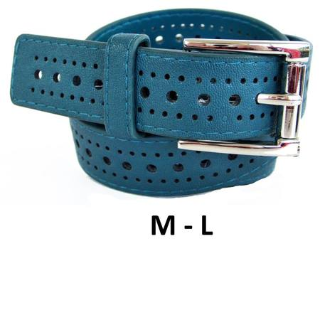 SLIM/HOLE PATTERN  BELT - TEAL M-L