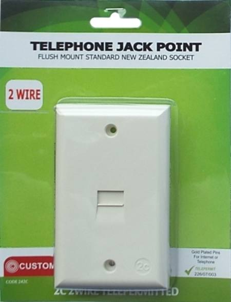 CUSTOM TELEPHONE FLUSH WALL SOCKET NEW 2C CONNECTION