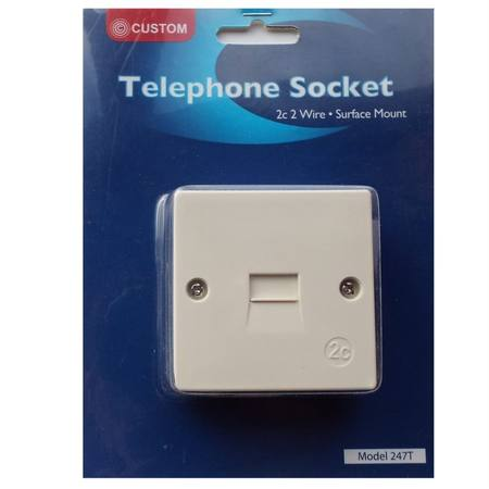 CUSTOM TELEPHONE SURFACE WALL SOCKET NEW 2C CONNECTION