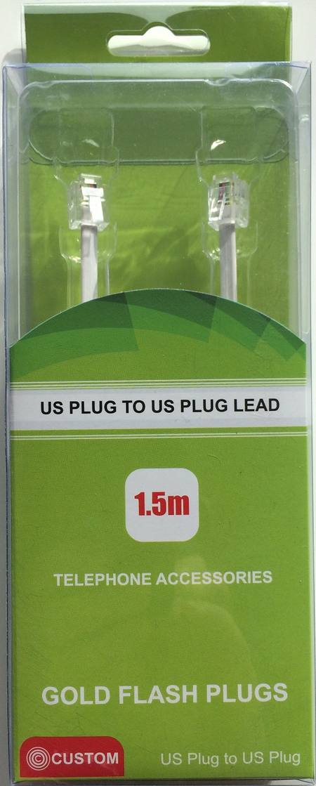 CUSTOM US PLUG TO US PLUG TELEPHONE LEAD 1.5 METRE