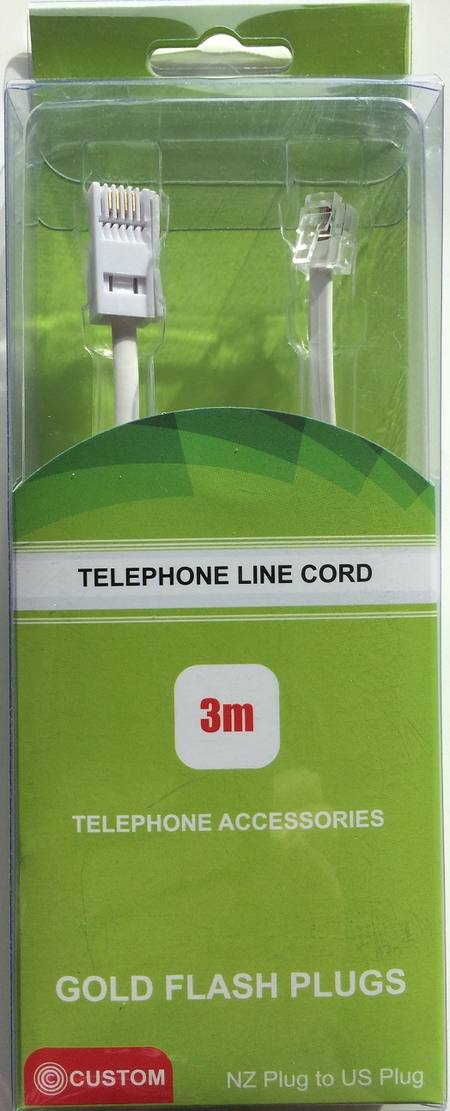CUSTOM TELEPHONE LINECORD 3 METRE