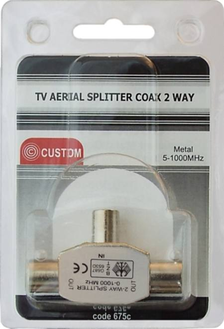 CUSTOM TV AERIAL SPLITTER COAX TWO WAY