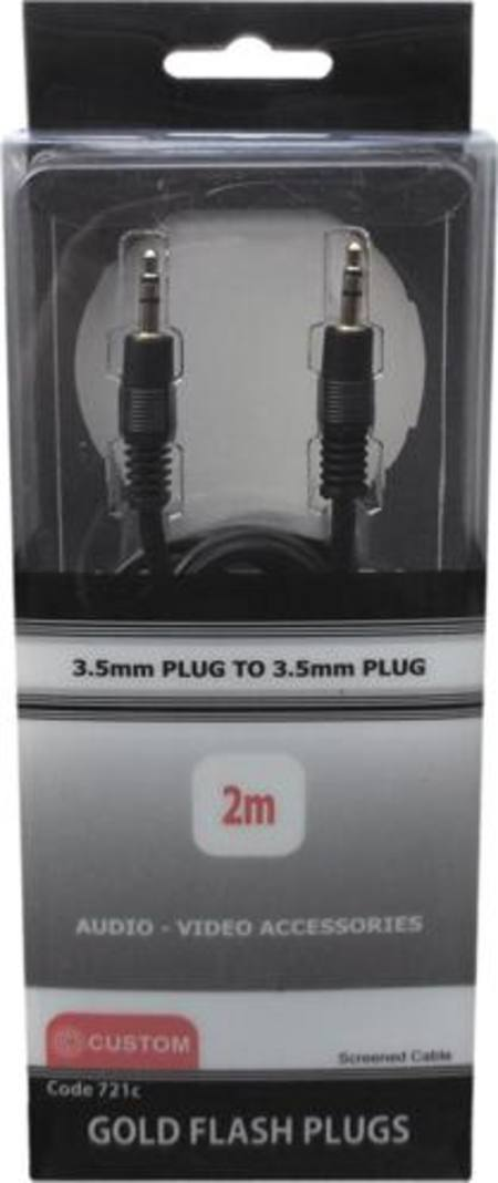 CUSTOM 3.5mm STEREO PLUG TO 3.5mm STEREO PLUG 2 METRE LEAD