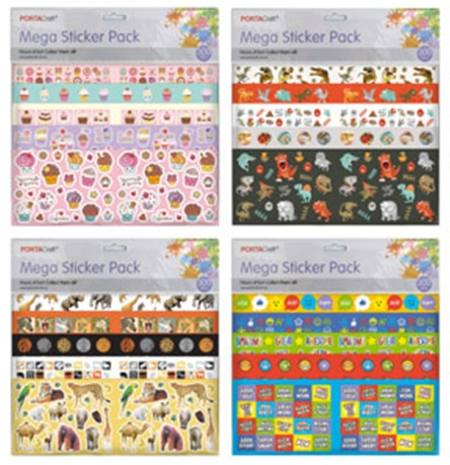 Mega Sticker Pack 300pc - 12 Assorted Designs