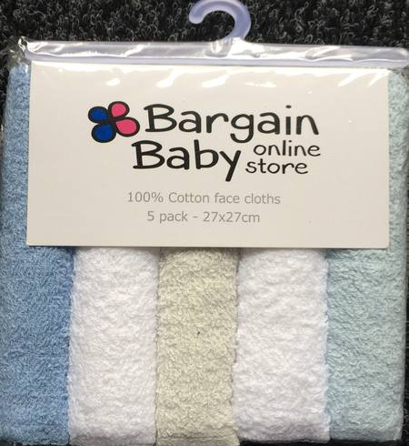 5 PACK OF BABY FACE CLOTHS - BLUE