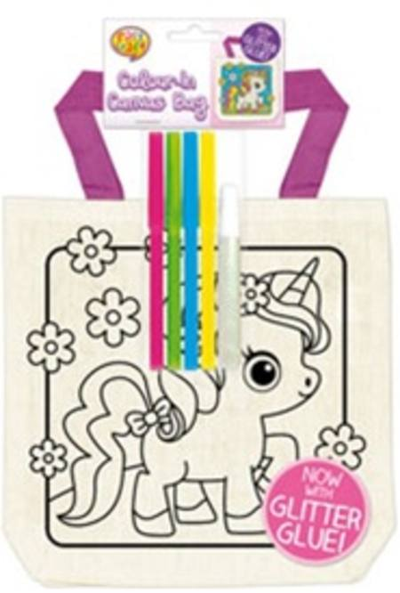 GIRLS - COLOUR IN YOURSELF CANVAS BAGS - 6 ASSORTED DESIGNS