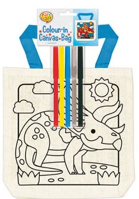BOYS - COLOUR IN YOURSELF CANVAS BAGS - 6 ASSORTED STYLES
