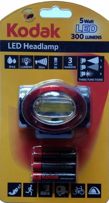 LED HEADLAMP KODAK 300 LUMENS WITH 3 AAA HEAVY DUTY BATTERIES