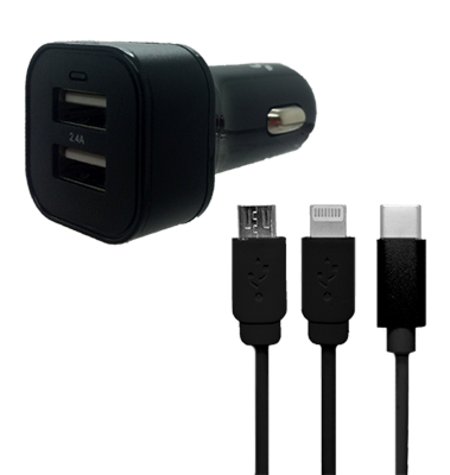 Car Charger - Dual USB - Light Up - 3 in 1 Adaptor - Black