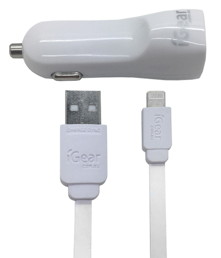 Car Charger - Dual USB - Light Up - iPhone 5/6/7/8/X - White