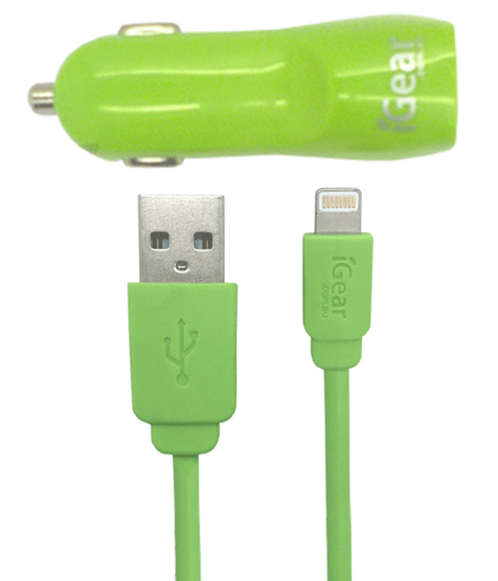 Car Charger - Dual USB - Light Up - iPhone 5/6/7/8/X - Green