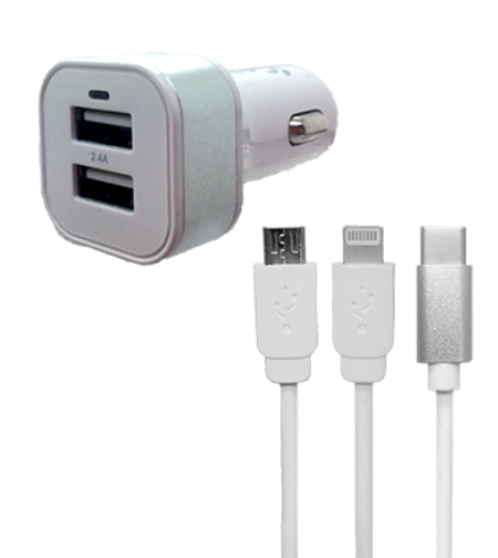 Car Charger - Dual USB - Light Up - 3 in 1 Adaptor - White