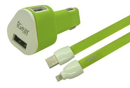 Car Charger - iPhone 5/6/7/8/X - Dual USB - with Flat Cable - Lime
