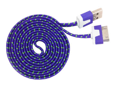 USB Cable - iPhone 4/4S/iPad 2 - Noodle - 1.5m - Purple