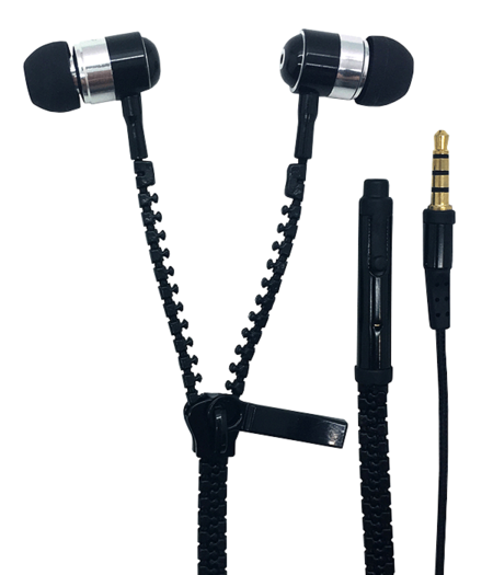 Earphone Zipper Metallic with Mic - Black