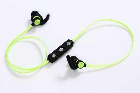 BLUETOOTH SPORTS EARPHONES WITH/VOL CONTROL - BLACK/LIME