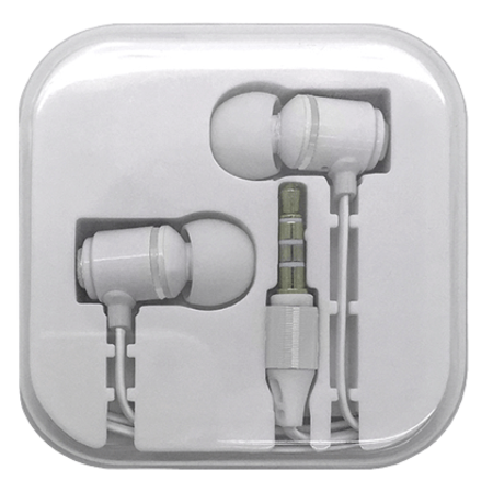 Earphone with Mic & Vol Ctl in Case - Metallic White