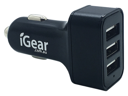 Car Charger - 3 USB - 2.4A x 3 - Aluminium - Black