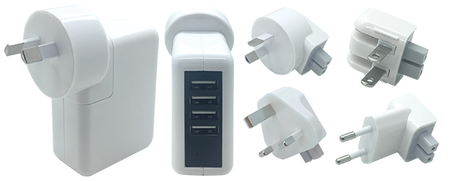 WALL CHARGER 240V WITH TRAVEL PLUGS 5PC - 4 USB 2.0A - WHITE