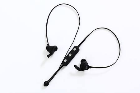 BLUETOOTH SPORTS EARPHONES WITH/VOL CONTROL - BLACK/BLACK