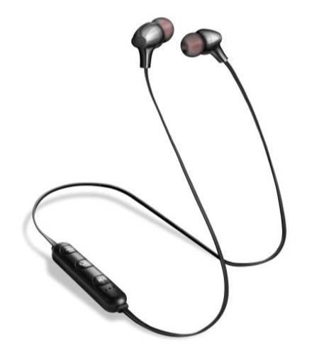BLUETOOTH SPORTS EARPHONES WITH MIC/VOL CONTROL - BLACK