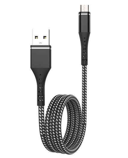Buy USB TO MICRO USB HEAVY DUTY BRAIDED CABLE - BLACK in NZ.