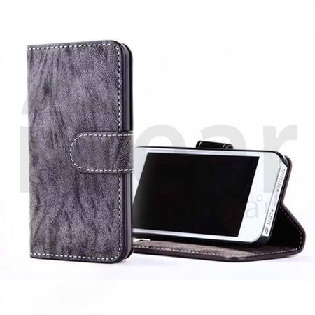 Phone Case - iPhone 6 Plus - PU Wallet Leather - Dark Grey