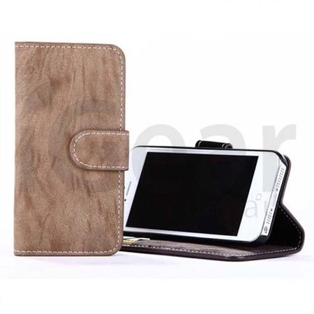 Phone Case - iPhone 6 Plus - PU Wallet Leather - Beige